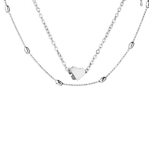 Elistelle Halskette Für Damen Silber Choker Mehrreihig Kette mit Anhänger Halsband Kette