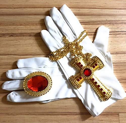 Panelize 5 teilig Mitra Bischofsmütze Sankt Nikolaus mit Handschuhen und Schmuck-Set
