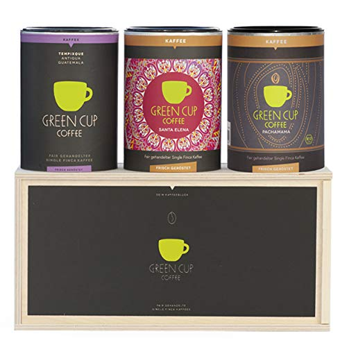 Green Cup Coffee Kaffee - Holzbox Kaffee sortenreine, fair gehandelte Arabica Kaffeebohnen - Kaffee Bohnen aus Costa Rica, Guatemala & Peru (3x 227g ganze Bohne)
