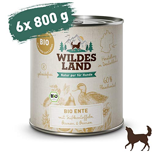 Wildes Land | Nassfutter für Hunde | Bio Ente | 6 x 800 g | Getreidefrei & Hypoallergen | Extra hoher Fleischanteil von 60% | 100% zertifizierte Bio-Zutaten | Beste Akzeptanz und Verträglichkeit
