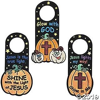 (24) Color Your Own Fuzzy Christian Pumpkin Doorknob Hangers ~