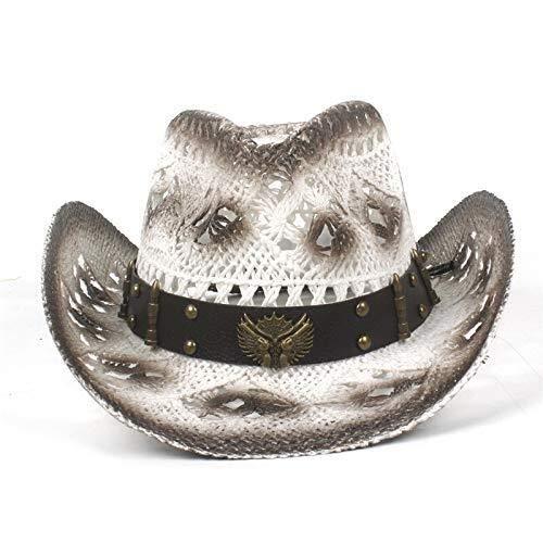 Jiahe115 mini-baseball-pet, 100% persoonlijkheid, strohoed, handgevlochten, voor mannen en vrouwen, met een elegante cowboy-hoed