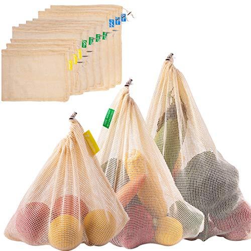 Zindoo Gemüsebeutel Obstbeutel Bio-Baumwolle Spart Plastiktüten, Brotbeutel Einkaufstaschen Wiederverwendbare, Langlebig Robust Doppelt Genähte Gemüsenetz mit Farbetikett 10PCS(3S*4M*3L)