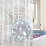 Feagar EVA Shower Curtain Liner with Free Hooks, Waterproof 72x72-Inch-PVC Free, Non Toxic, Eco-Friendly, Odorless 3D Pebble Bathroom Curtains, Semi-Transparent