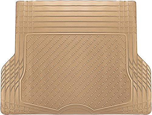 OxGord All-Weather Rubber Cargo-Liner Floor-Mat - Waterproof Trunk Protector/Cover for Rear - Best for Rough Luggage, Dog, Pets, Spills, Car, SUV, Minivan, Truck, Beige