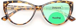 Gaoye Cateye Bifocal Reading Glasses Women Blue Light Blocking, Computer Spring Hinge Readers Retro Frames Anti UV Ray