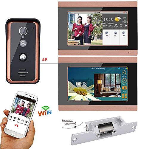 Timbre de video de 7 pulgadas con conexión Wi-Fi, 2 monitores, puerta,...