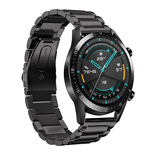 Fesjoy Correa de Reloj de 22 mm Correa de Reloj de Acero Inoxidable Reemplazo de Pulsera Compatible con Huawei Watch GT2 46 mm/Honor MagicWatch2 46 mm/Honor MagicWatch