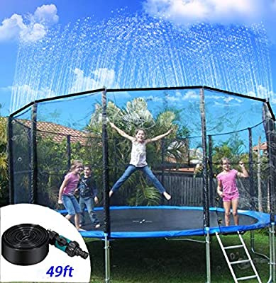 NA Trampoline Sprinklers for Kids, Outdoor Trampoline Spary Park Fun Summer Water Game Toys,Children Party Park, Outdoor Misting Cooling System,, 49FT Patio Misting Kit for Patio Garden Greenhouse