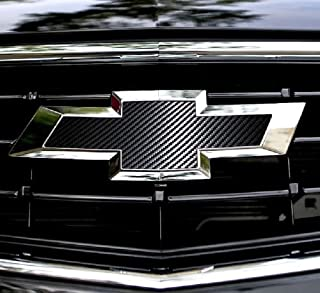 XYC 2 pcs CARBON FIBER Chevy Bowtie Emblem Overlay Sheets Front/Back Vinyl Decal Wrap (black)