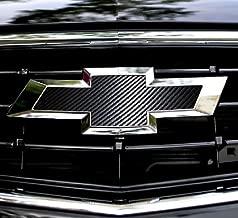 XYC 2 pcs CARBON FIBER Chevy Bowtie Emblem Overlay Sheets Front/Back Vinyl Decal Wrap (black)