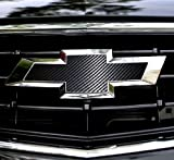 2 pcs Carbon Fiber Chevy Bowtie Emblem Overlay Sheets Front/Back Vinyl Decal Wrap (Black)