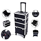 Mefeir 2-in-1 Rolling Makeup Train Case,4 Removable Travel Wheels w/Lockable Keys +Shoulder Strap,Aluminum Cosmetic Trolley Cart Beauty Artist Organizer Stylist,Ideal Xmas New Year Gift(Black)