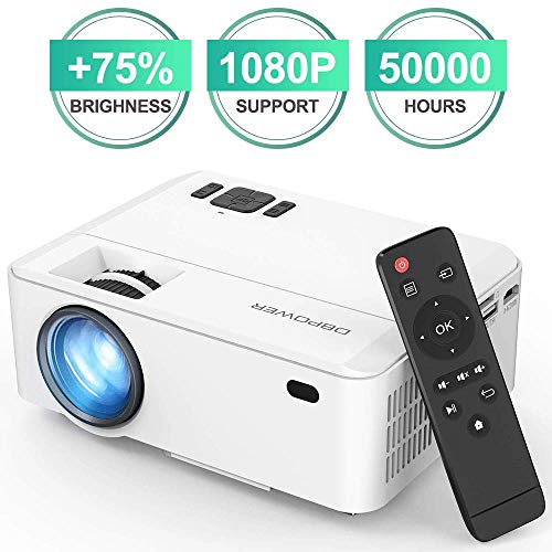 DBPOWER Projector, Upgraded 3500 Lux Mini Projector, 50000 Hrs 1080P Supported Video Projector Compatible with HDMI, USB, VGA, AV, TF, TV Stick and Smartphone (Upgraded Brightness and Reduced Noise)