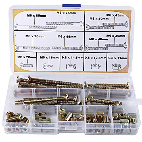 Crib Screws Parts Replacements - M6 Baby Bed Crib Bolts and Barrel Nuts for Furniture Bed Cot Bunk 16mm 20mm 30mm 40mm 45mm 50mm 55mm 70mm 75mm 85mm Crib Bolts