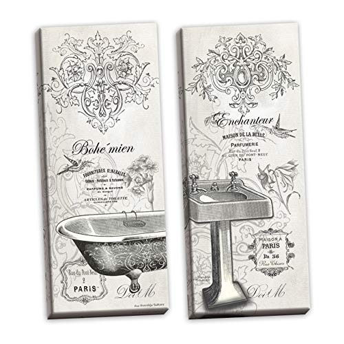 Gango Home Decor 2 Vintage French Claw-Foot Bathtub and Sink Panel Prints; Two 6x18in Stretched Canvases Bath Sink Pedestal Foot