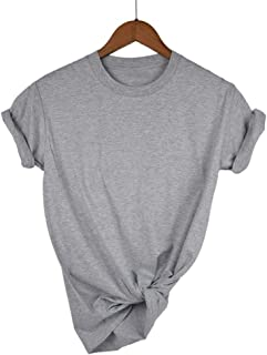 MAODING 13 Color XS-2XL Plain T Shirt Women Cotton Elastic Basic T-shirts Female Casual Tops Short Sleeve T-shirt Women T-Shirts (Color : Light blue, Size : XXL)
