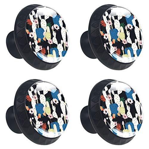 YITIAN 4 Stück Schrankknäufe für Küchenschrank, Schublade, Schrankgriff, Wandmontage, Garderobenhaken, Catcus Black