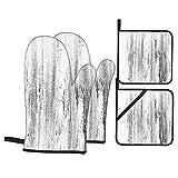Guanto da forno 4 pezzi e presina,Include l'immagine di struttura monocromatica del fondo,Guanti da antiscivolo impermeabili e resistenti al calore a microonde per cucinare e cuocere in cucina