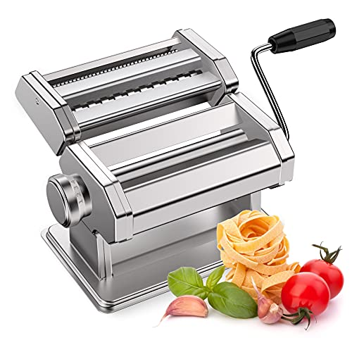 Pasta Machine, Apustim 150 Roller Pasta Maker, Manual Noodles Machine 8 Adjustable Thickness Settings with Pasta Cutter and Hand Crank, Perfect for Spaghetti, Fettuccini, Lasagna or Dumpling Skins