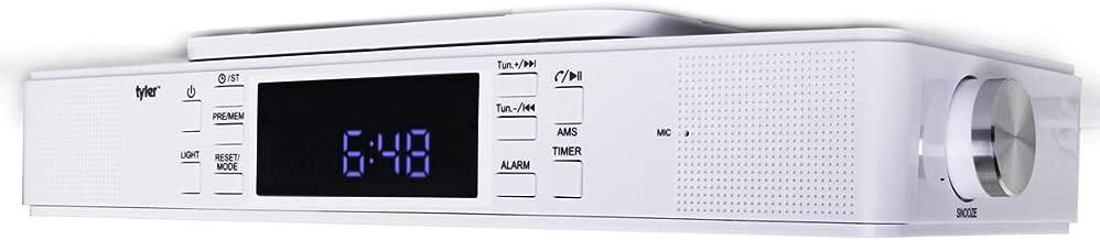 Tyler Bluetooth Under The Cabinet Universal Wireless Music System, Kitchen Clock Radio, FM Radio, Digital Clock, Hands Free Speakerphone with Microphone, LED Work Surface Lighting, White (TKS1WH)