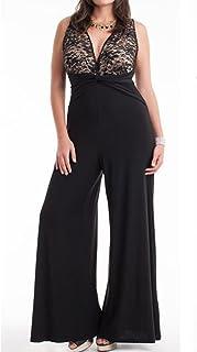 25401853c6f 831 - Plus Size V Neck Lace Top Palazzo Wide Pants Jumpsuit Black