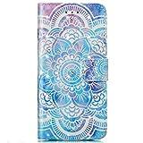 kompatibel mit Galaxy A5 2016 Hülle,Galaxy A5 2016 Lederhülle,3D Gemalt Muster Kristall Glitzer PU Leder hülle Flip Hülle Brieftasche Etui Wallet Tasche Schutzhülle für Galaxy A5 2016,Blau Mandala