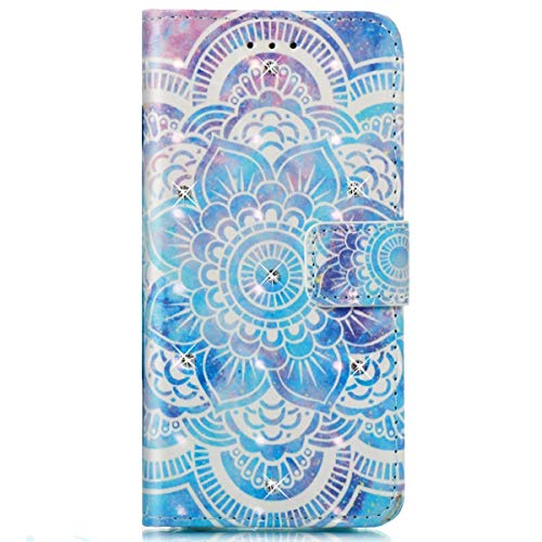 Surakey Coque Compatible avec iPhone 8,Coque iPhone 7,Motif Brillant Paillette Glitter Etui Housse Cuir PU Portefeuille Folio Flip Case Cover Wallet Coque Housse pour iPhone 7/8,Bleu Mandala Fleur
