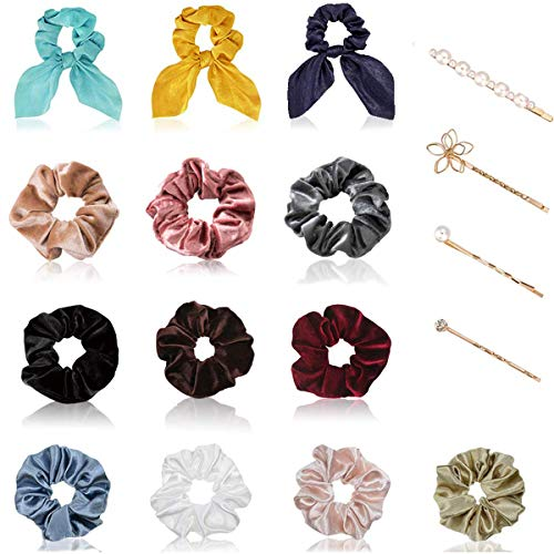 Hair Scrunchies for Girls,Including 6 Velvet Ropes Scrunchies & 4 Silk Satin Scrunchies & 3 Satin Bunny Ear Scrunchies and 4 Pearl Hair Clips, Great Gift for Thanksgiving day and Christmas (17Pcs)