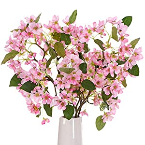 ANWBROAD Artificial Flower Bouquets Cherry Blossom Flowers Artificial 3 PACK Silk Faux Sakura Flowers Fresh Real Touch Flowers Realistic Home Wedding Decoration Floral Arrangements ULAF04PP