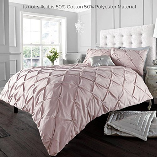 Alford Duvet Cover with Pillowcase Quilt Cover Bedding Set - Soft Pink - Double