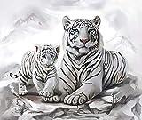 LIWEIXKY Rompecabezas de Madera Rompecabezas de 1000 Piezas Juguete Educativo para nios Juego de descompresin Regalo para Adultos  White Tiger-1-500