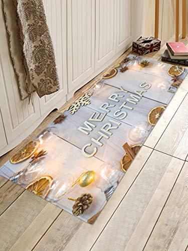 HJFGIRL Frohe Weihnachten Teppiche rutschfeste Türmatte Weihnachten Gemusterte Teppichbodenmatte Für Wohnküche Wohnzimmer Esszimmer Spielzimmer Dekoration,B,60x180cm(24x71inch)