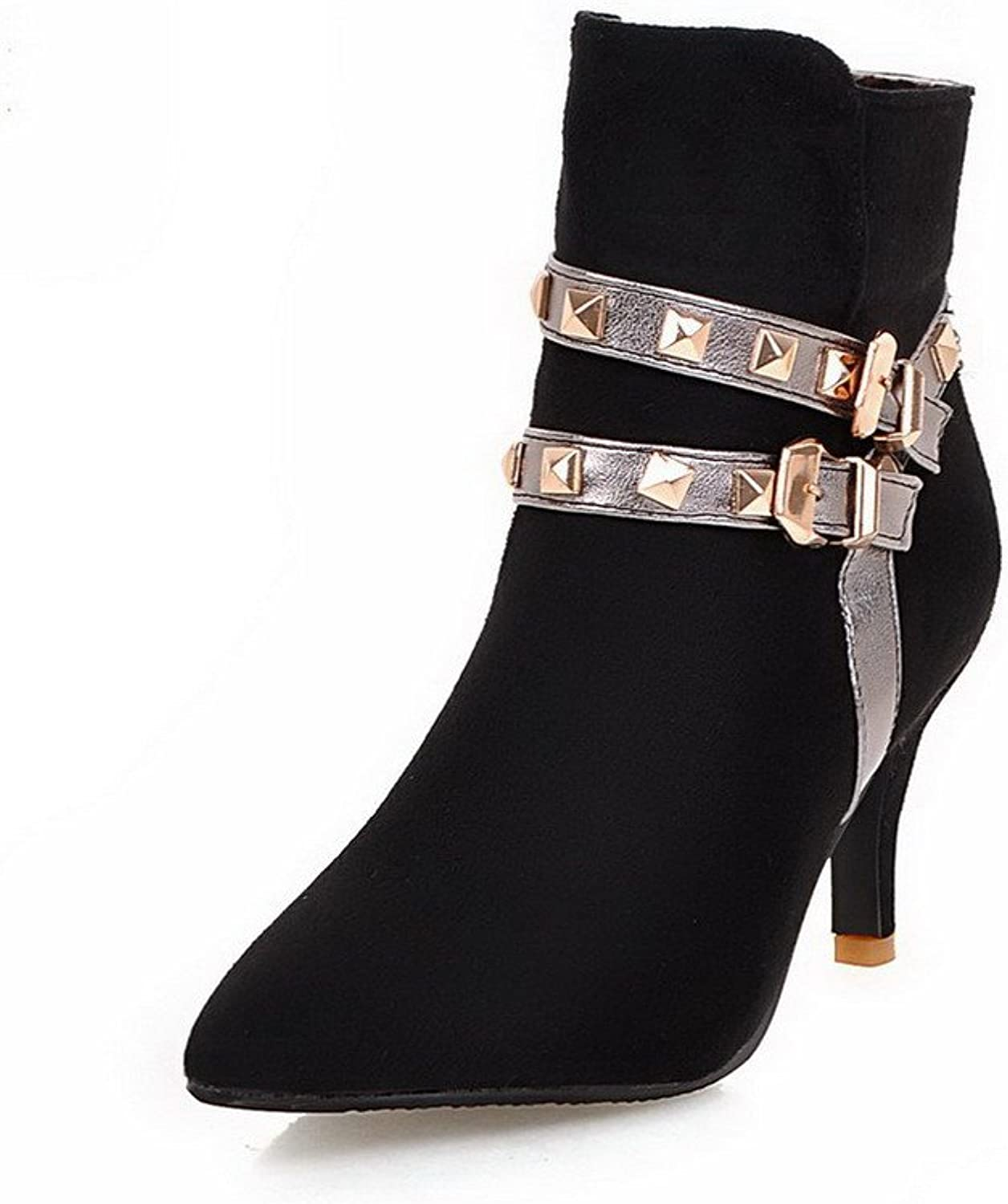AllhqFashion Women's High-Heels Assorted colors Pointed Closed Toe Soft Material Zipper Boots