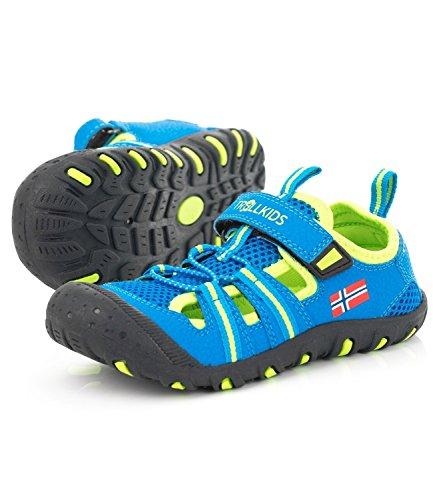 Trollkids Kinder Sport Sandale Sandefjord, Mittelblau/Limette, Größe 28 EU