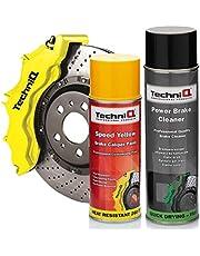 TechniQ Speed Yellow - Kit de Pintura para calibrador de Frenos con Limpiador de Frenos eléctricos, 500 ml