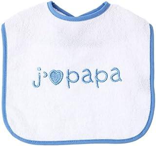 """Babero de King Bear para bebé con frase """"J 'aime Papa"""" y corazón, blanco/azul"""