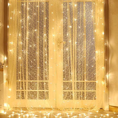 Twinkle Star 300 LED Window Lights String Light for Christmas Wedding Party Home Garden Bedroom Outdoor Indoor Wall Decorations, Warm White, 8 Modes