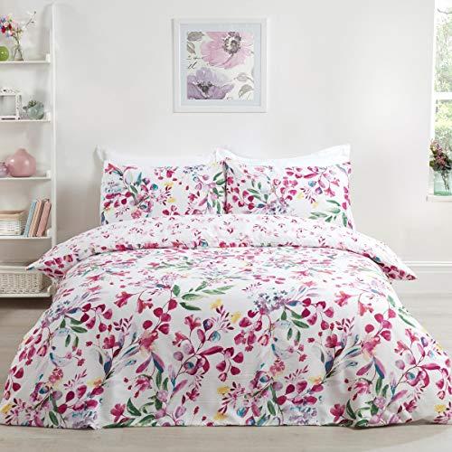 Sleepdown Juego de Funda de edredón Reversible con Fundas de Almohada para Cama Doble (200 x 200 cm), diseño Floral de Acuarela