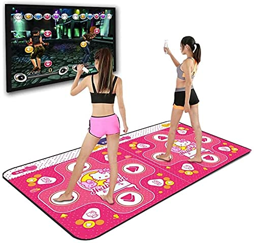 ZRKJ-jl Tanzmatte für Computer und TV, rutschfeste drahtlose doppelte Dance-Pad, Tanzmusikspiel für Kinder Jungen Mädchen 6-13 Jahre alt, Kindergeburtstagsgeschenke (Color : Pink)