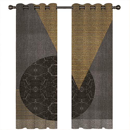 ANAZOZ Window Curtain 2 Panels Blackout Curtains,Round triangle patterns Gray black gold,Curtain Polyester,264x160CM