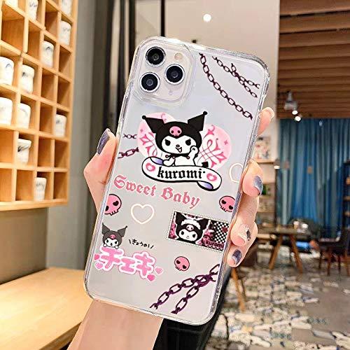 HNZZ Tmrtcgy Jamular Dibujos Animados Kuromi Bad Girl Teléfono Transparente Funda para iPhone 12 11 Pro X XS MAX XR 7 8 Plus Soft Silicone Funda TPU Coque (Color : Style 1, Size : Iphone12)
