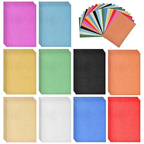 POKIENE 50 Blatt Glitzerpapier Glitzer Tonpapier glänzend | DIN-A4 10 Farben Glitzer papier | Bastelpapier Glitterkarton für Basteln Scrapbooking und DIY