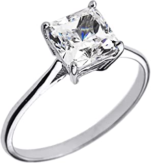 10k White Gold CZ Princess Cut Solitaire Engagement Ring