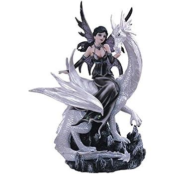 George S. Chen Imports Black Fairy Riding White Dragon Collectible Figurine Decoration Statue