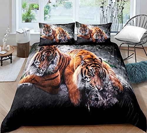Amacigana Juego de ropa de cama de 135 x 200 cm, 3 piezas, funda de edredón suave con cremallera y funda de almohada de 50 x 75 cm (animalitos 7,140 x 200 cm/80/80 cm)
