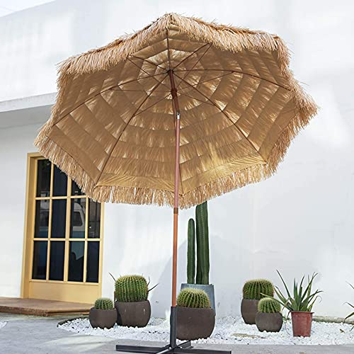 Cakunmik Parasol de Paja con inclinación, Hawaii Nature Round Umbrella 300 cm, Playa Plegable Umbrella UV Protection, no se desvanecerá, creará un Ambiente Tropical