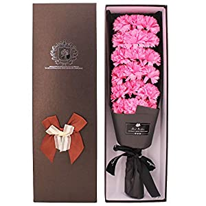 Soap Carnation Artificial Flowers, Scented Soap Floral Flower Bouquet with Box, Handmade Flower Decoration Ideas Gift for Mother's Day, Valentine's Day, Anniversary, Weddings, Birthdays (Pink)