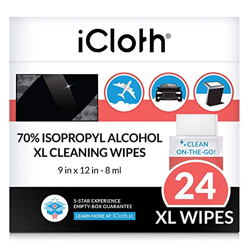 iCloth Cleaning Wipes – for Extra-Large Devices and Surfaces – Screen Cleaner for All Kinds of Large Electronics – Streak-Free Formula and Lint-Free Cloth – Box of 24