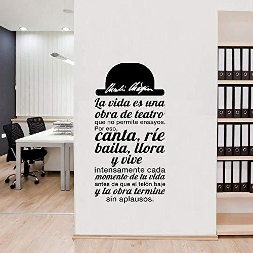 Cita en español La vida es una obra de teatro Vinilo Adhesivos de pared Calcomanías Arte para sala de estar Decoración del hogar Decoración de la casa-43X86cm